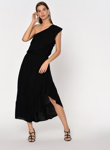 Loves You Tek Kol Volanlı Asimetrik Elbise Siyah